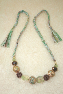 Aqua, Gold and Brown Necklace