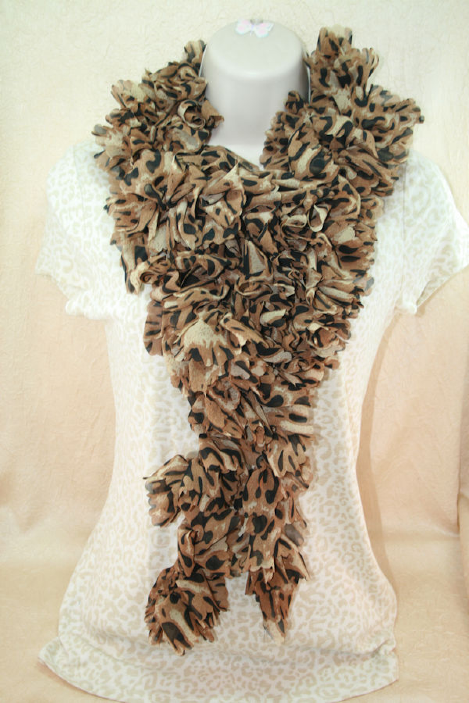Leopard Print Fabric Crocheted Ruffle Scarf In Poly Chiffon