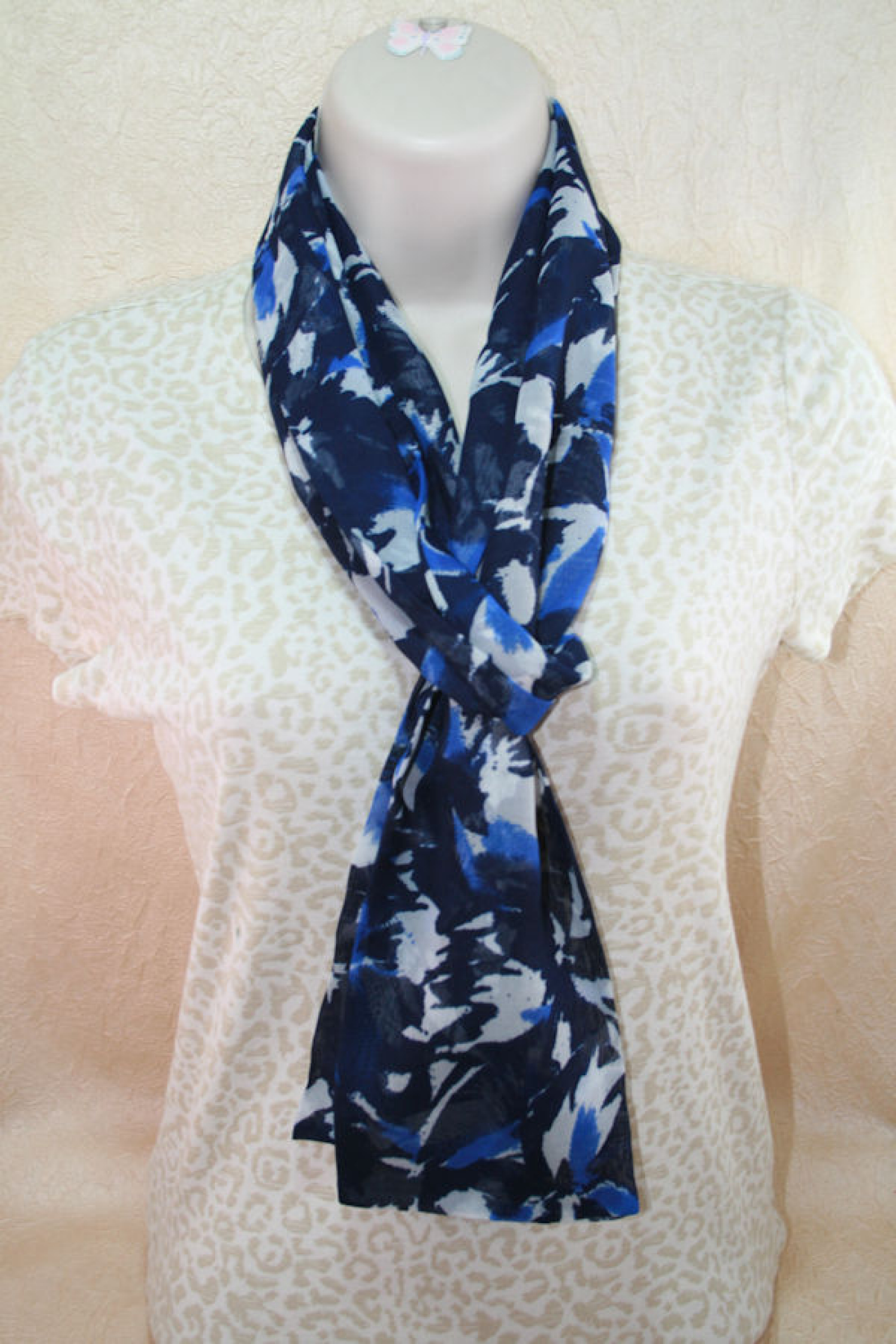 Womens Scarf In Navy And White Abstract Floral Pattern